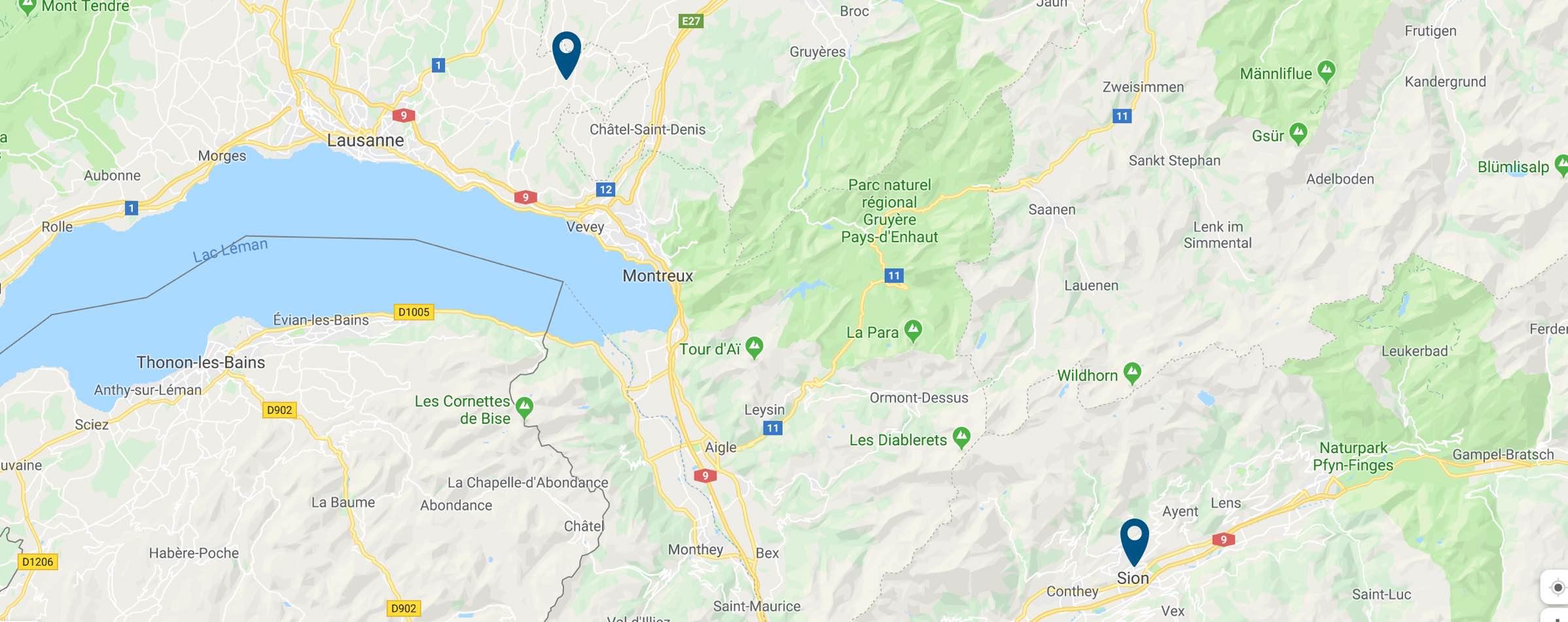 Prologis — Contact — Carte de localisation de nos agences de Oron-la-ville et Sion